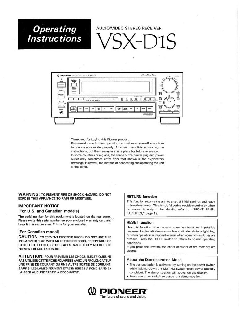 Instruction Manual Pioneer Receiver