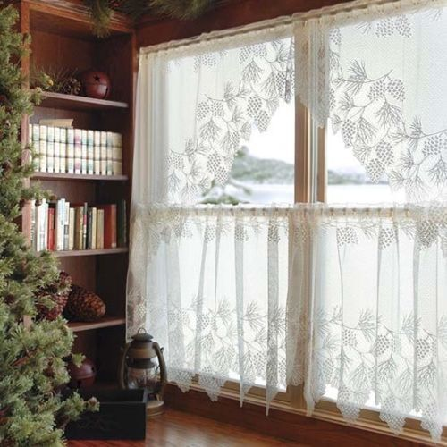 Charlotte Lace Tiers Swags: Heritage Lace WOODLAND Curtain SETS Tiers+ Valance Sets