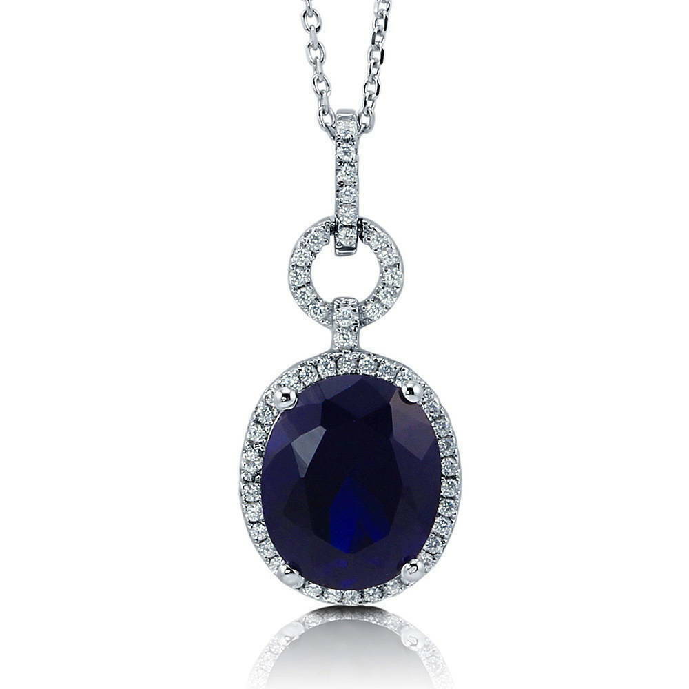 BERRICLE Sterling Silver Oval Simulated Blue Sapphire CZ ...