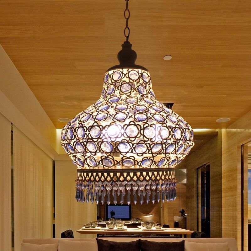 Bedroom Lighting For Low Ceilings Bedroom Curtains With Blinds Home Furniture Bedroom Sets Girly Bedroom Decor: S Size Blue Crystal White Ceiling Pendant Lamp Lantern