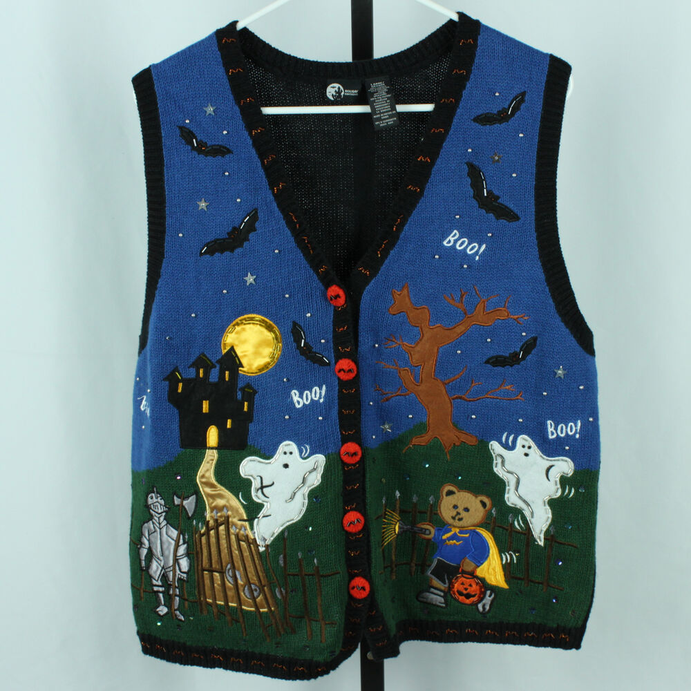 Halloween Womens L Sweater Vest Holiday Editions Cute Ghost Costumes Clothes