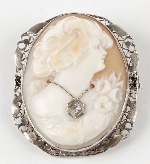 Antique 14k Filagree Gold Cameo Wearing A Diamond Necklace
