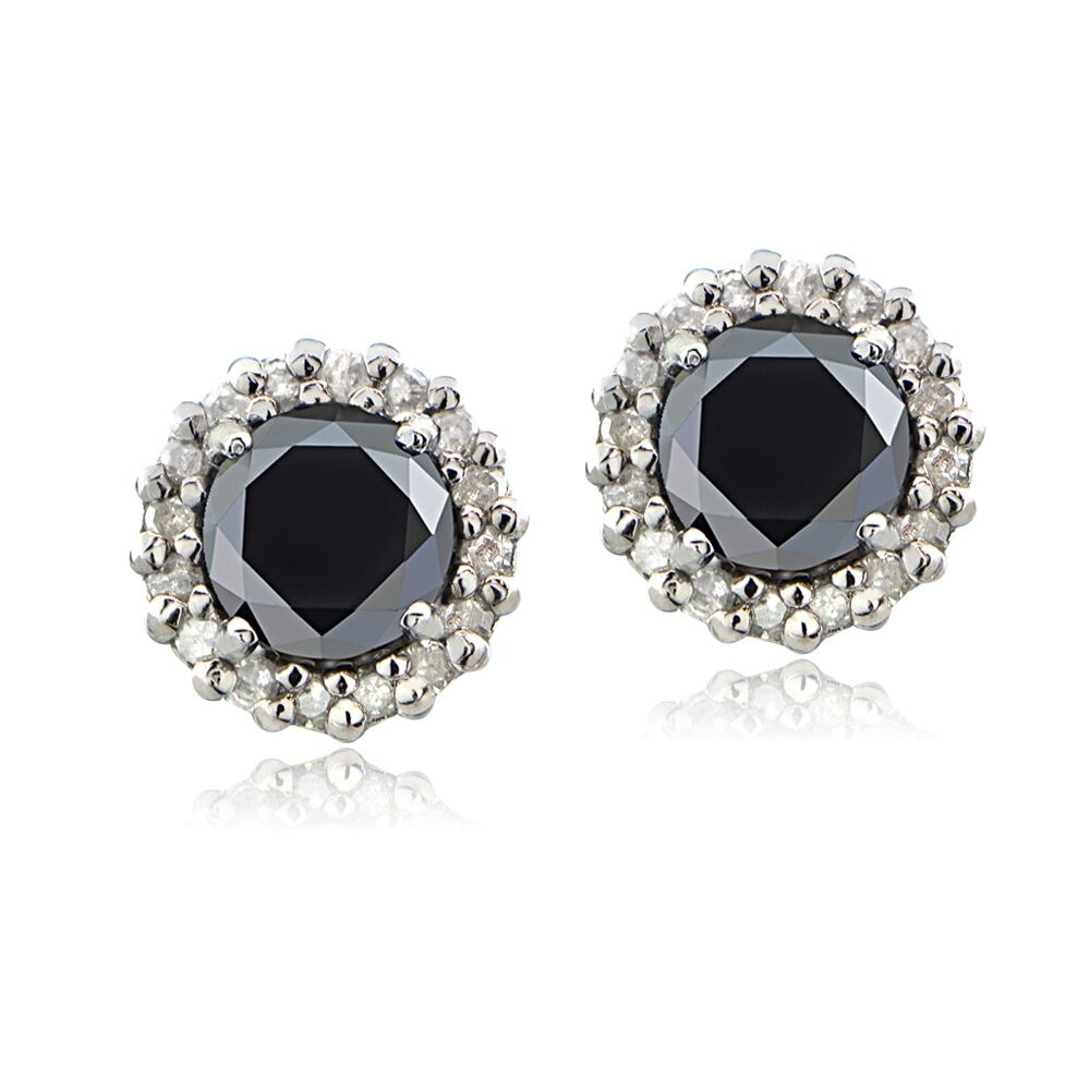 Sterling Silver 1.15ct TDW Black & White Diamond Halo Stud ...