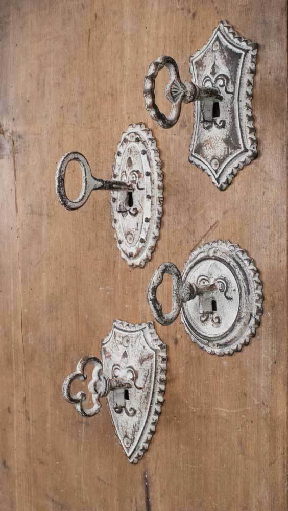 Set of different replica vintage key metal hooks rustic