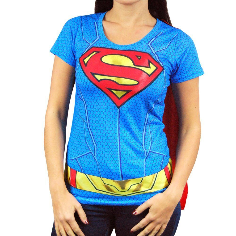 275d4a0f Womens DC Comics Supergirl Costume T Shirt with Cape NEW Superhero Fancy  Dress | eBay