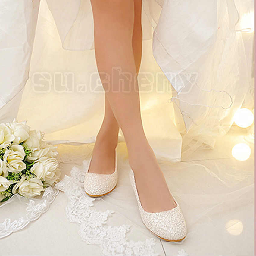 flat wedding shoes for bride real silk satin lace white ivory wedding shoes bridal 4099