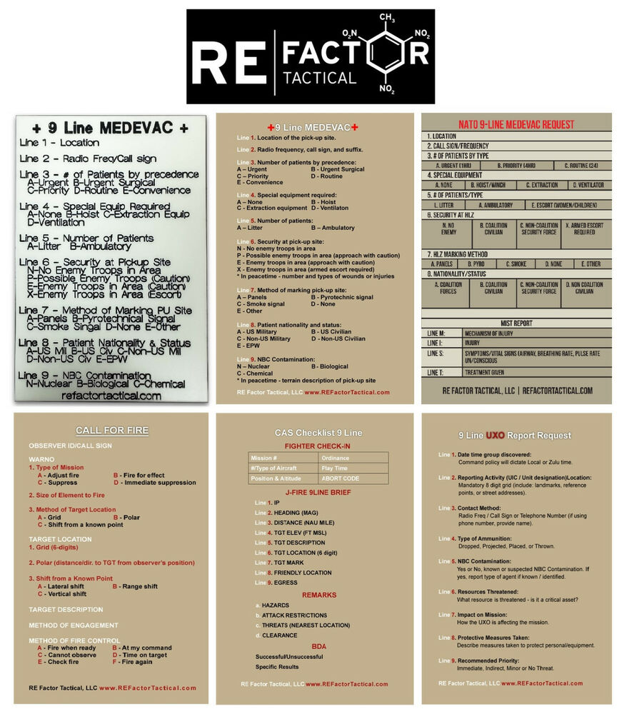 Line Card Examples: 9 Line Medevac And Uxo Report Example