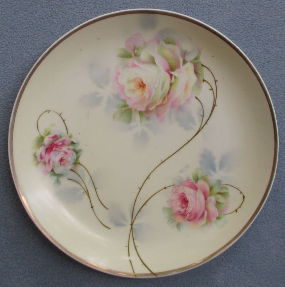 Hand Painted Plates : Weimar germany hand painted signed plate large pink roses