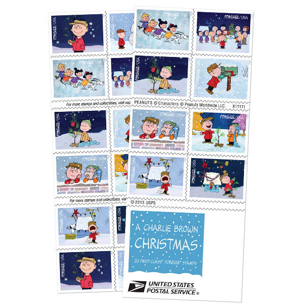 charlie brown christmas usps forever stamps