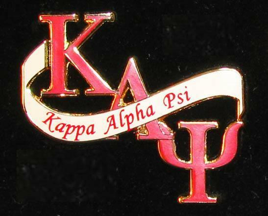 kappa alpha psi letters and banner lapel pin