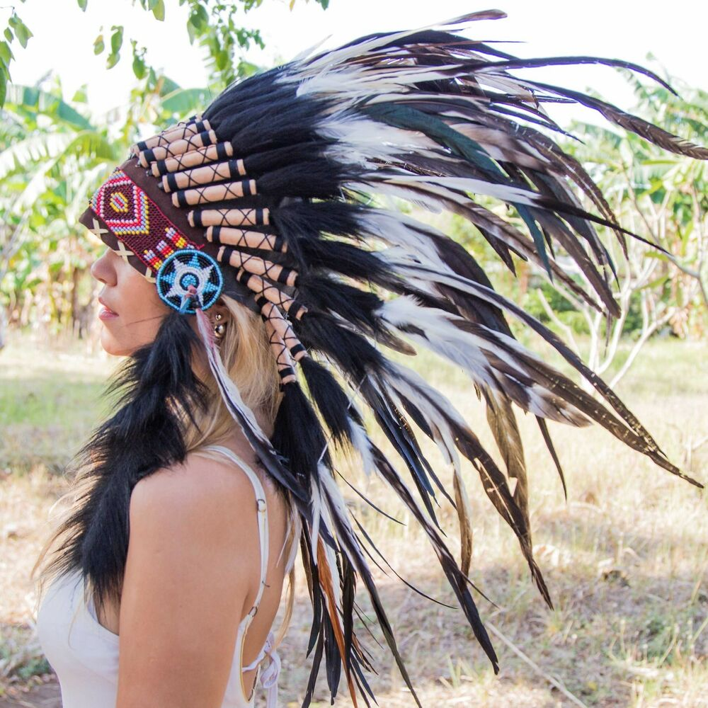 CHIEF INDIAN HEADDRESS 75CM FEATHERS Native American ...