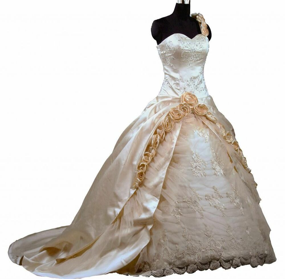 Champagne Ball Gown Wedding Dress Bridal Gown Size 6 8 10