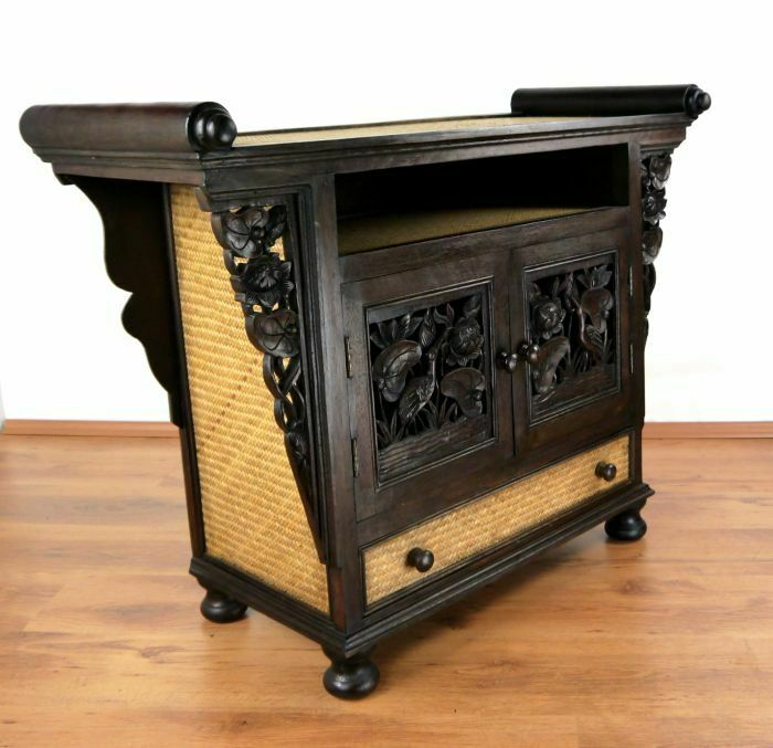 asiatischer hifi tv schrank sideboard holz schnitzerei anrichte thai m bel asia ebay. Black Bedroom Furniture Sets. Home Design Ideas