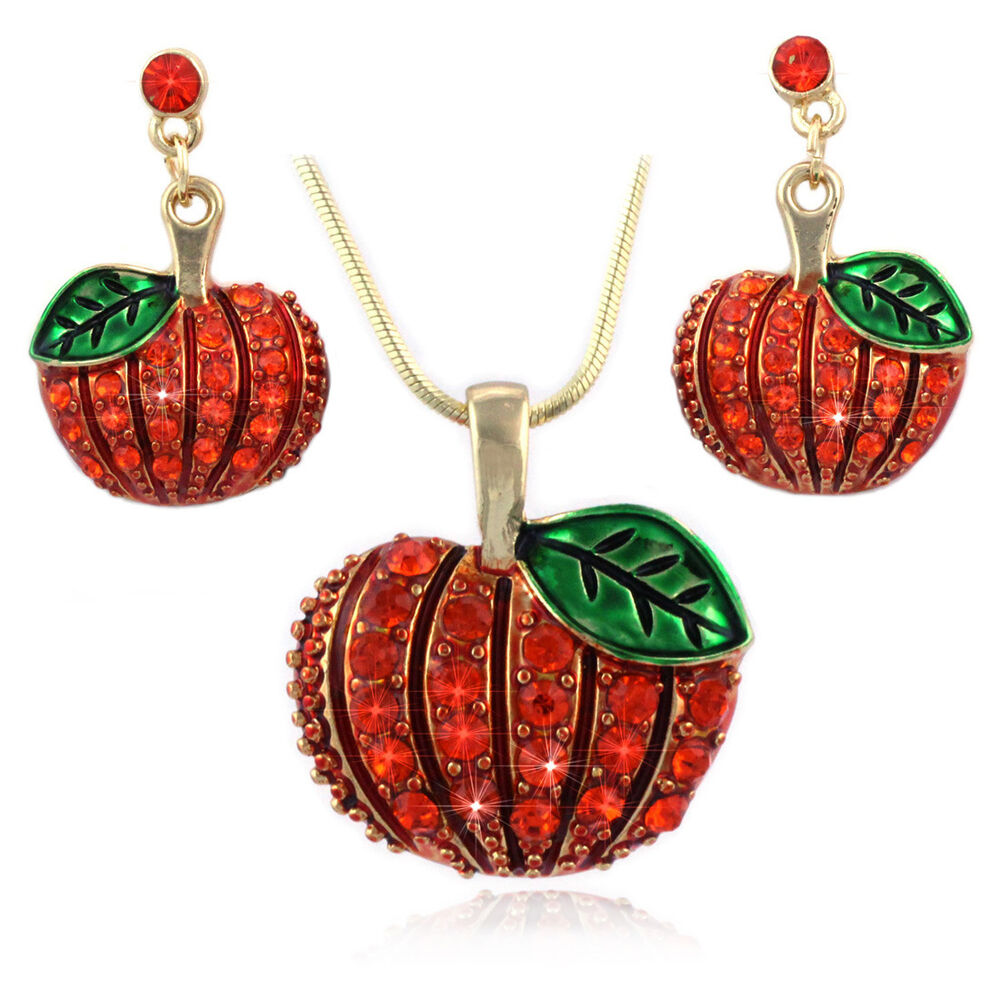 6b4e4c350 Details about Thanksgiving Halloween Autumn Fall Pumpkin Earrings Necklace  Pendant Set Jewelry