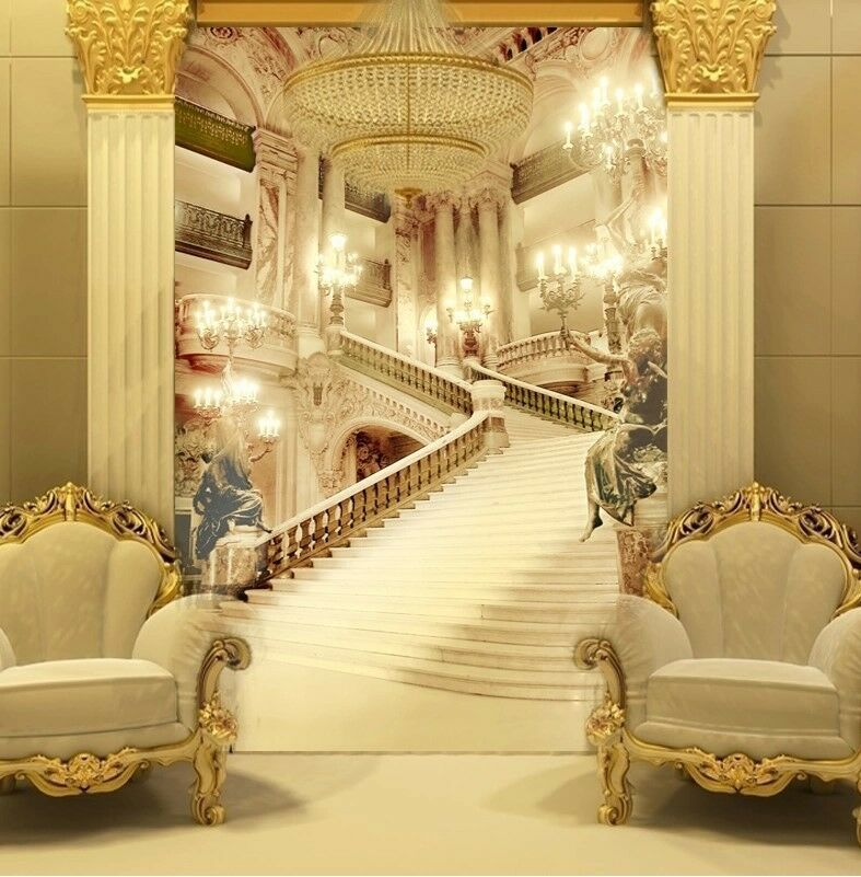 Wallpaper mural palace stairs wall paper background for Wallpaper for hall walls