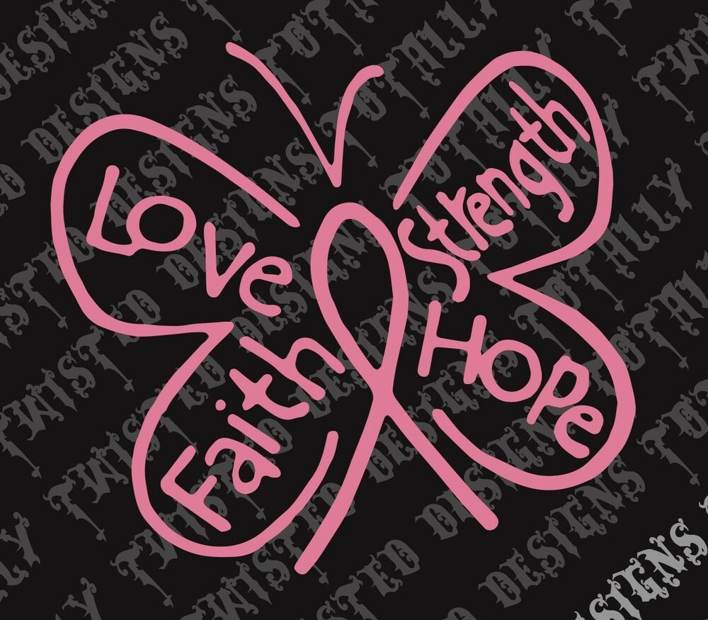 Breast Cancer Awareness Butterfly Car Vinyl Decal Sticker