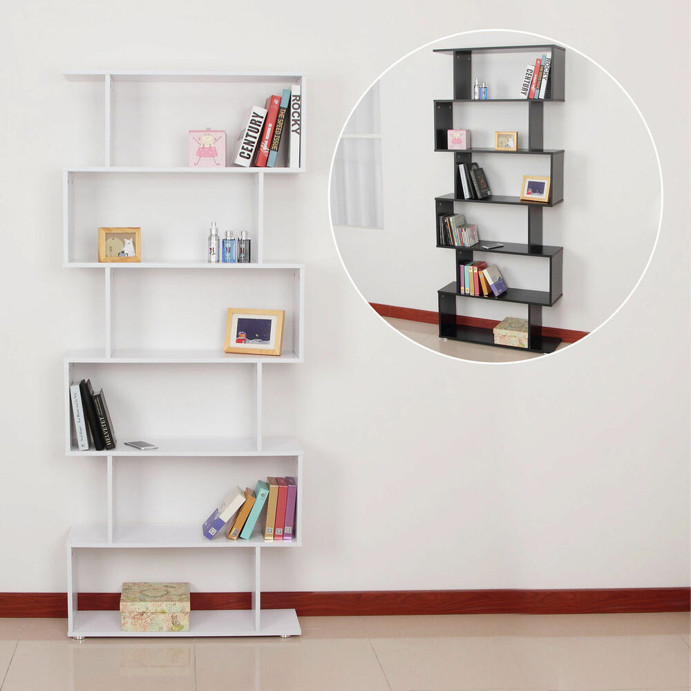Storage bookcase 6 shelves wood bookshelf s shape display for Display home furniture