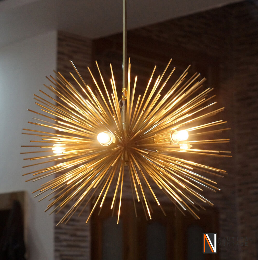 Mid Century 5 Bulbs Gold Brass Sphere Urchin Chandelier