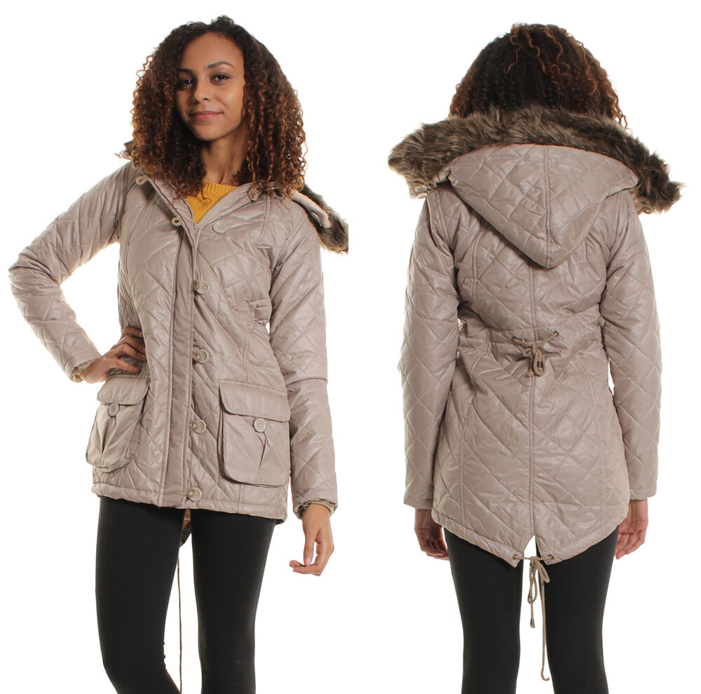 Womens cream quilted jacket