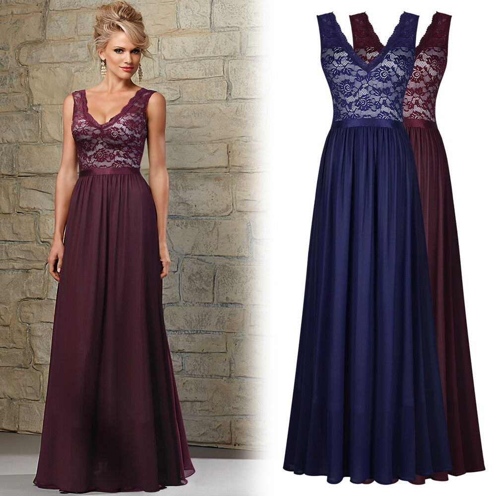 Women's Long Formal Cocktail Party Ball Gown Floral Lace ...