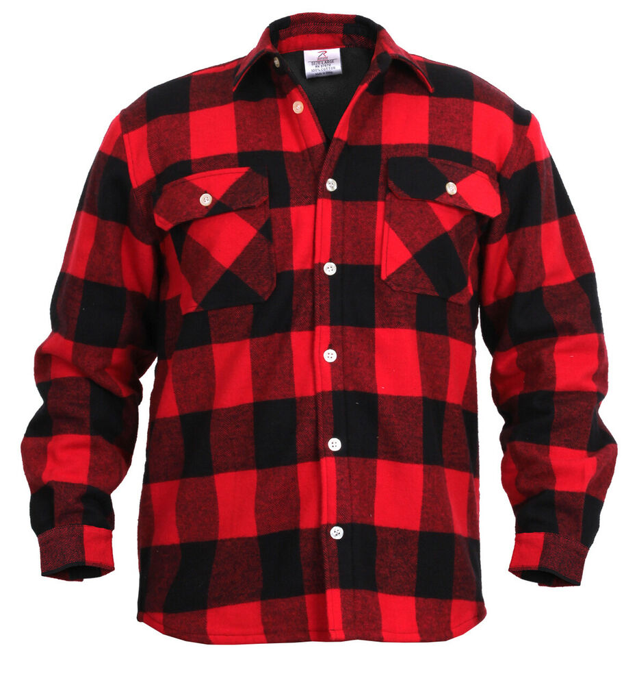 Mens Brawny Buffalo Plaid Flannel Shirt Red Long Sleeve