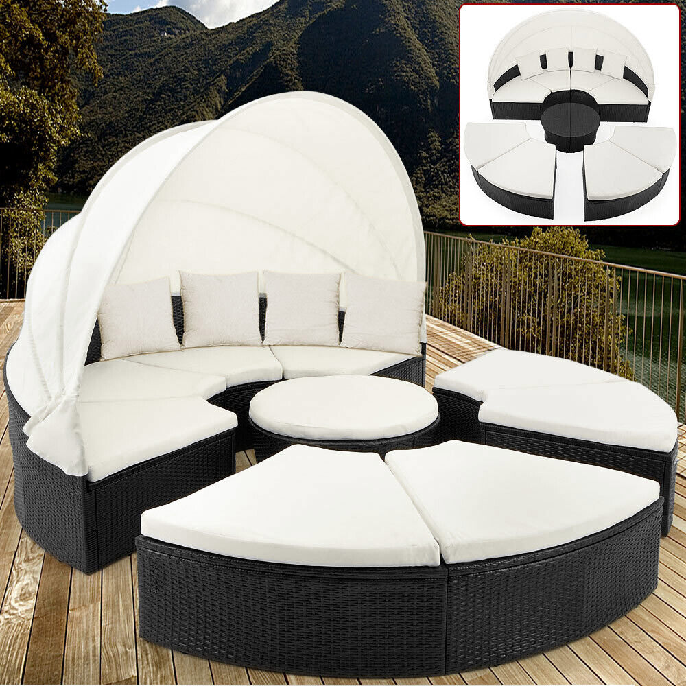 sonneninsel poly rattan lounge 230cm liege sonnenliege gartenm bel sitzgruppe ebay. Black Bedroom Furniture Sets. Home Design Ideas