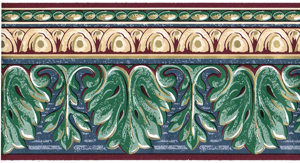 Architectural acanthus leaf crown molding blue green gold wall paper border ebay - Crown molding wallpaper ...