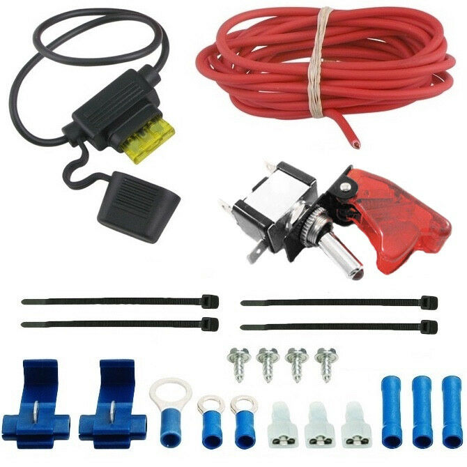 details about auto electric fan red led rocker switch complete wiring kit  toggle trigger cover