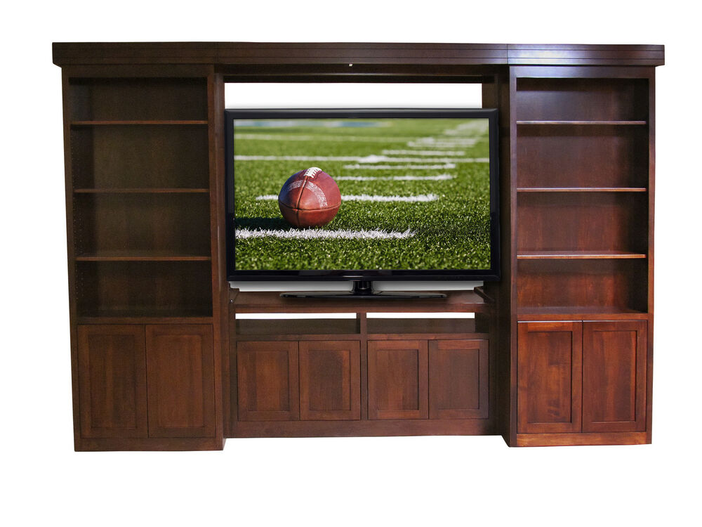 Custom built solid wood tv entertainment center library for Solid wood cabinets