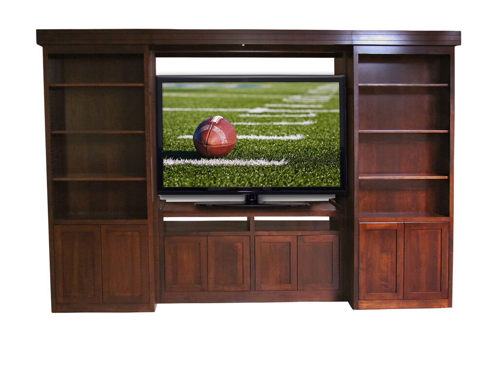 Custom built solid wood tv entertainment center library shelf sliding cabinets ebay Wooden entertainment center furniture