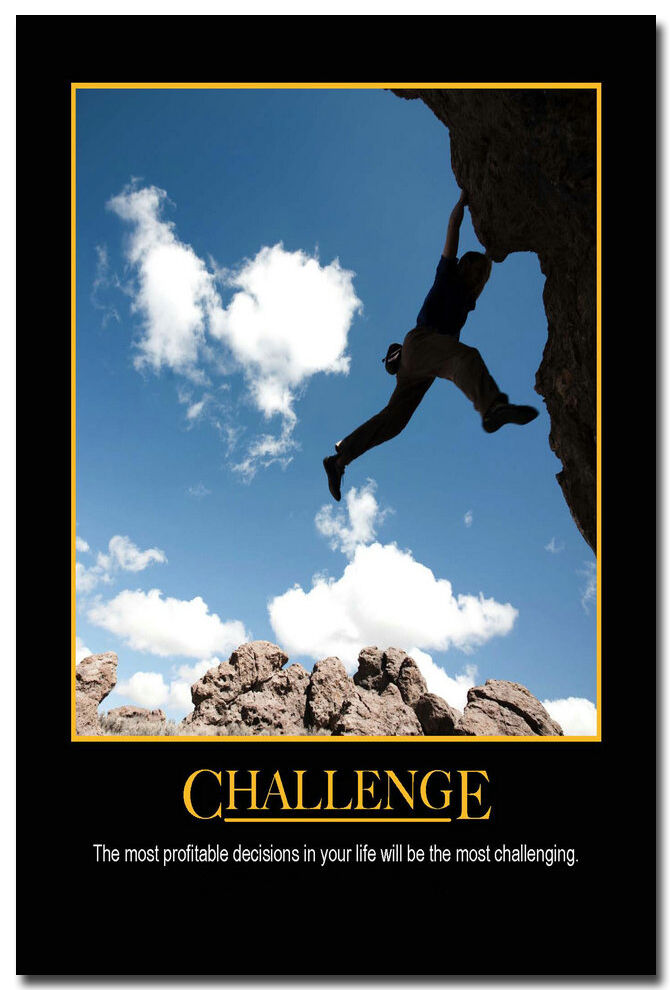 challenge sports motivational quotes silk poster print
