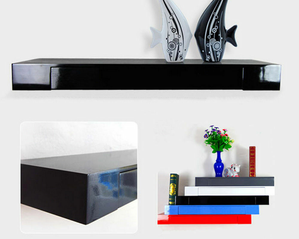100cmBLACK/white Gloss Floating Drawer Shelf TV Stand