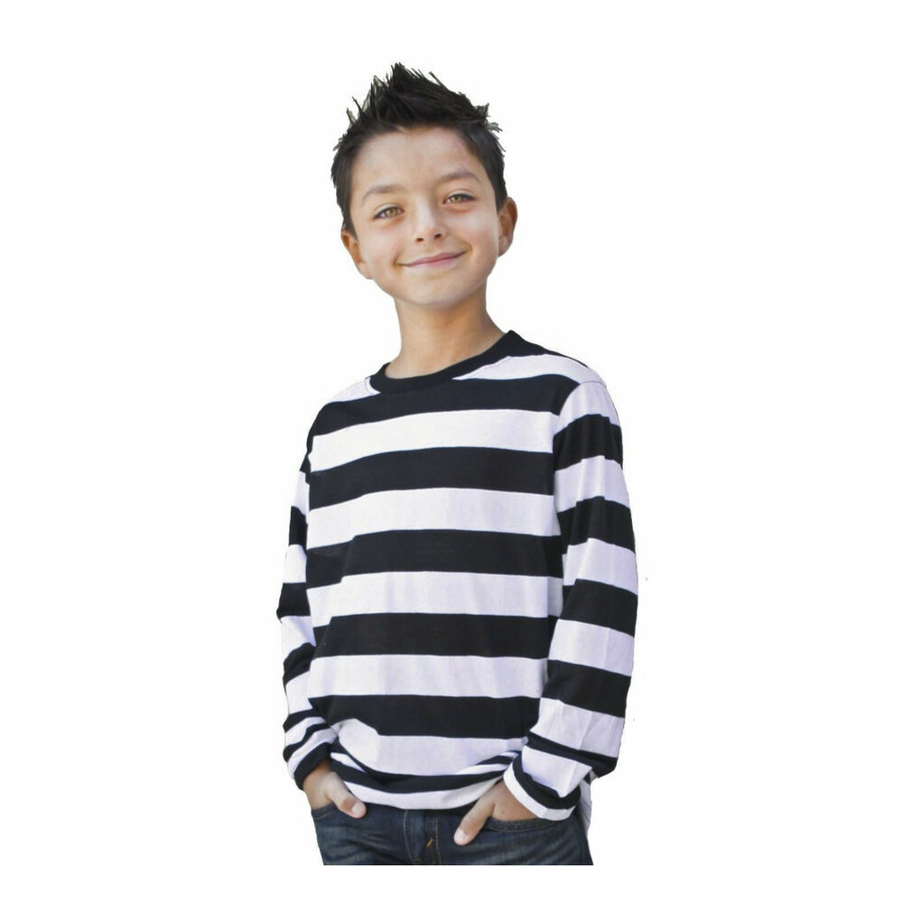 deddc65c48 Details about Kids Child Teen NYC Punk Mime Stripe Costume Long Sleeve  Striped T Shirt S M L