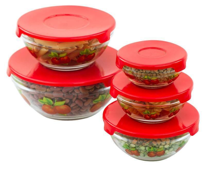 glass bowls with lids food storage red containers set 10 pcs ebay. Black Bedroom Furniture Sets. Home Design Ideas
