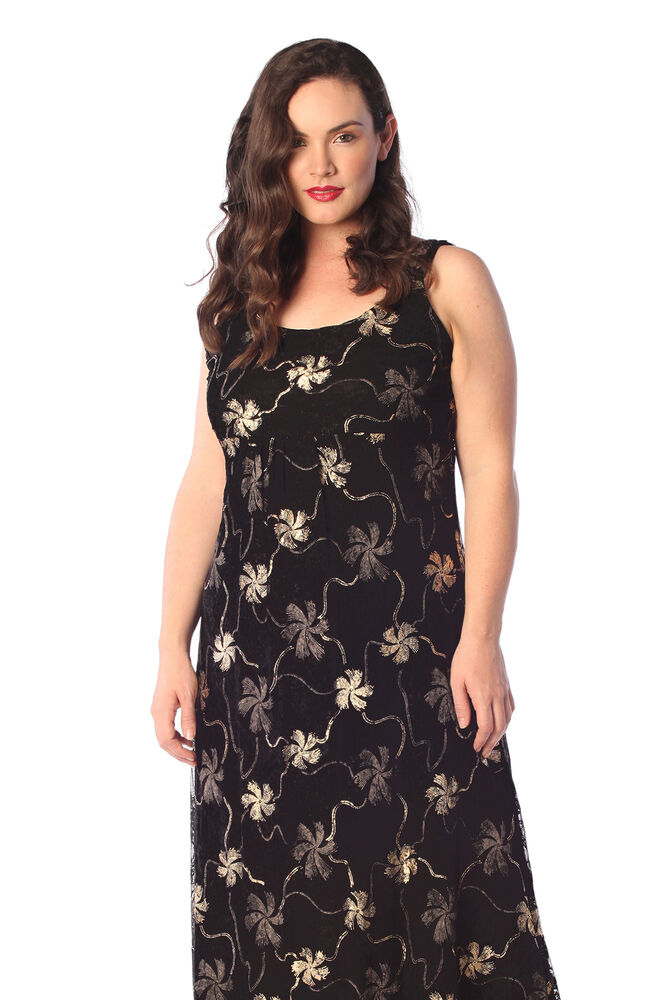 New Womens Plus Size Maxi Dress Ladies Floral Gold Silver