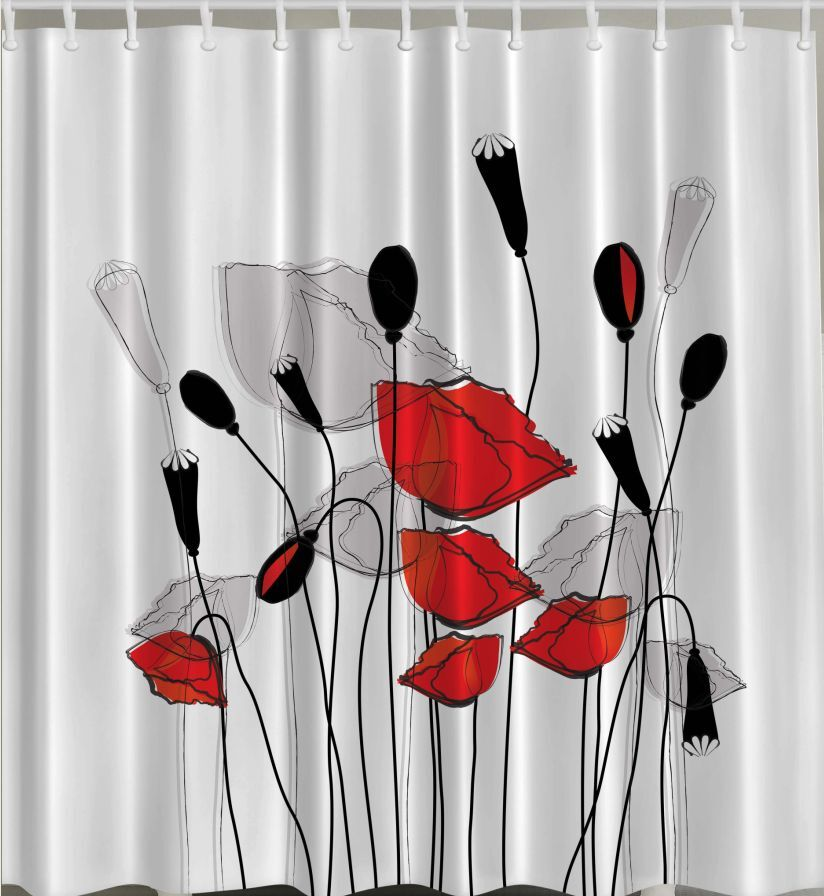 Red Black White SHOWER CURTAIN Fabric Flowers Poppy