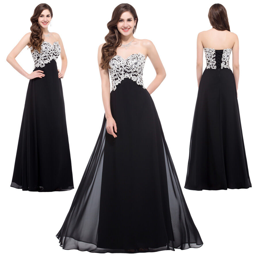 New Long Black CORSET Masquerade Ball Gowns Bridesmaid Formal Evening Prom Dress | eBay