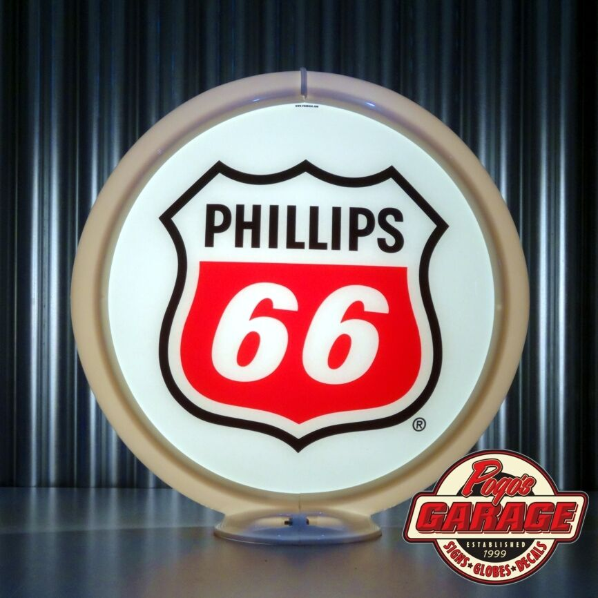 Phillips 66 gasoline 13 5 gas pump globe made by pogo for Garage ford lens