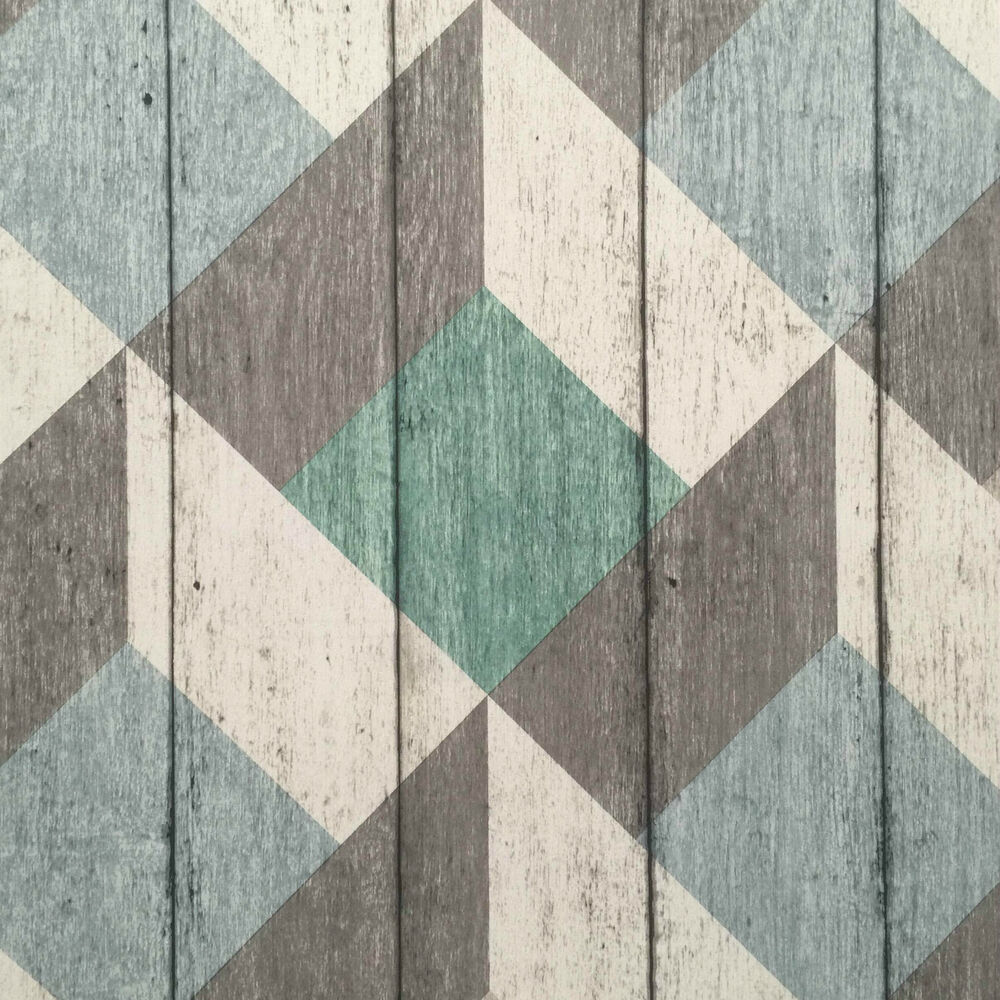 Green blue grey white rustic geometric textured wood for Rustic wallpaper ideas