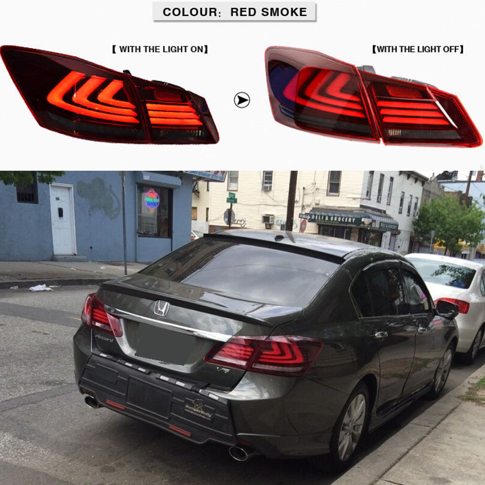 Honda Accord 2015 Led Headlights >> FOR 2013-2015 HONDA ACCORD TAIL LIGHTS 4 DOOR SEDAN LED BRAKE (RED SMOKE) | eBay