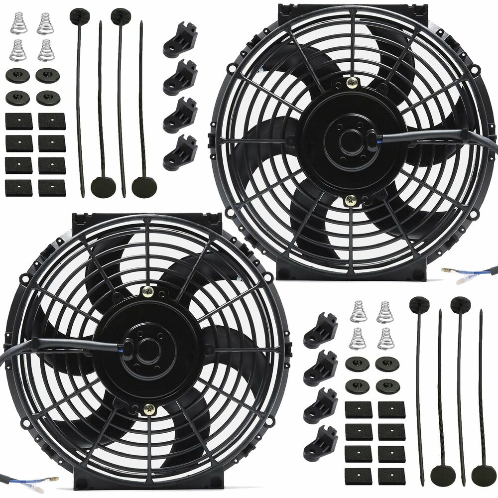 Dual 10 inch electric fans 12 volt auto radiator cooling for 12 volt electric fan motor