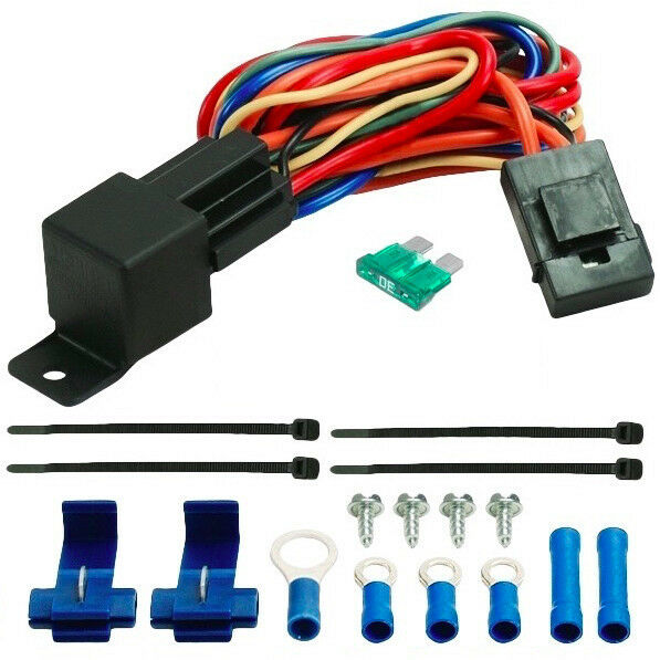 60a relay wire harness dual 12 volt electric radiator fans