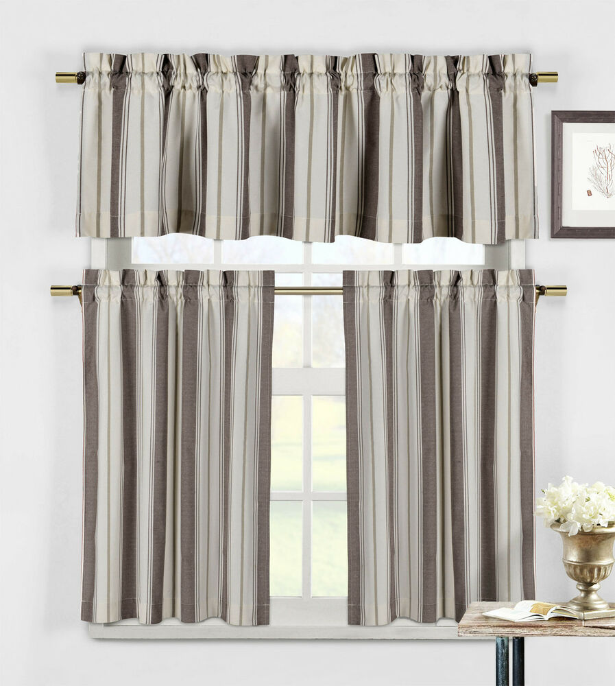 Taupe And Beige 3 Piece Kitchen Window Curtain Set
