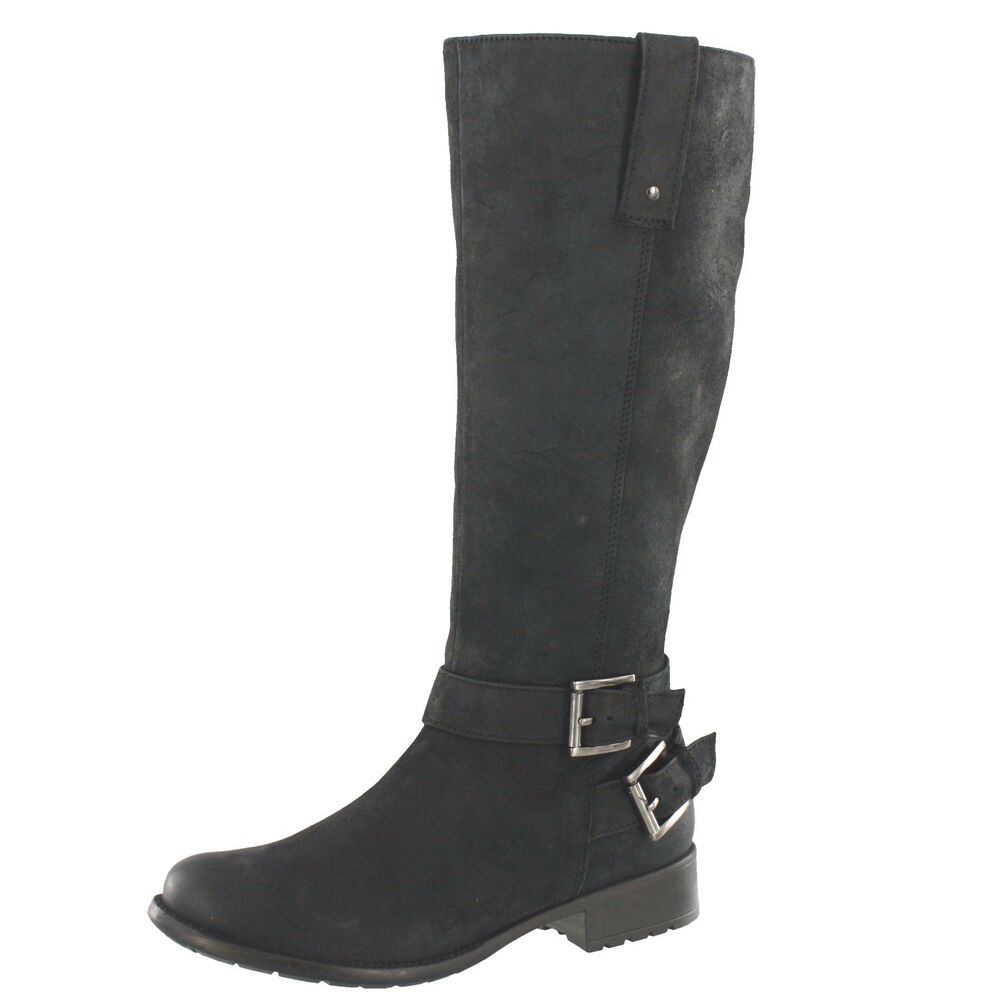 709a0efa Details about CLARKS PLAZA STEER BUCKLE KNEE HIGH BLACK SUEDE WOMEN'S BOOTS  #26101969