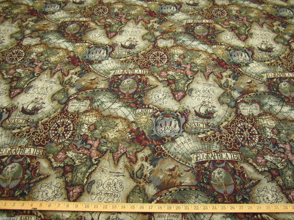 Magellan Old World Map Tapestry Upholstery Fabric Color