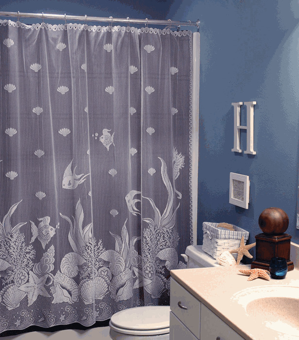 Heritage Lace Shower Curtain SEASCAPE Fish Seashell Beach