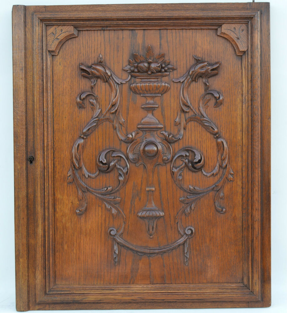 French antique carved oak wood architectural door panel