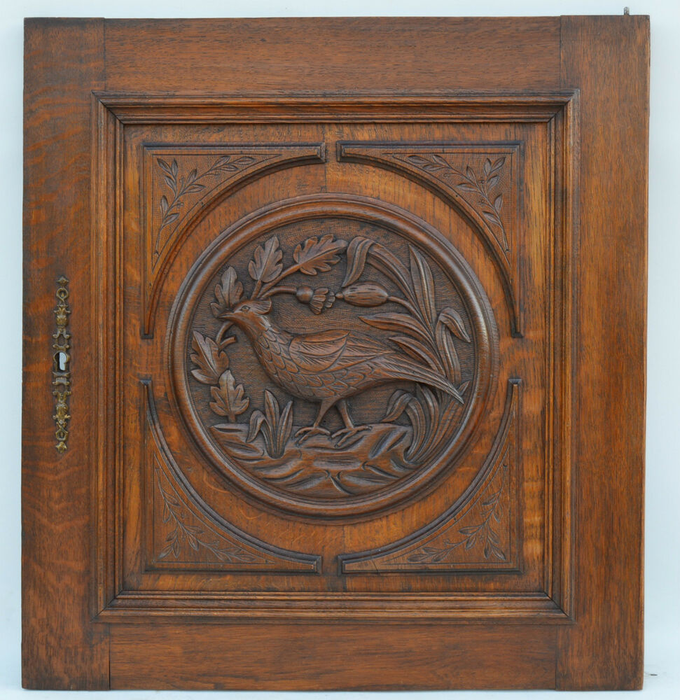 French antique carved oak wood architectural cupboard door for Architecture antique