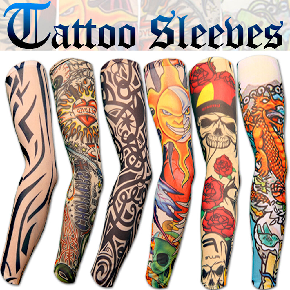 6 style fake nylon temporary tattoos sleeves arm stockings for cool men women ebay. Black Bedroom Furniture Sets. Home Design Ideas