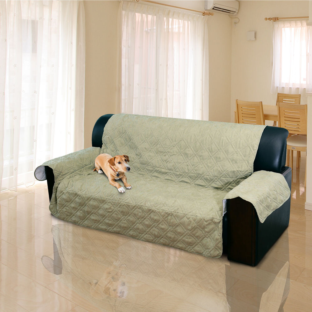 2 3 seater quilted sofa cover couch protector pet dog for Sofa arm covers cat
